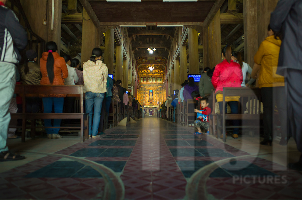 Low angle interior of Phat Diem Cathedral, Ninh Binh Province, Vietnam, Southeast Asia