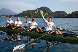 Iztok Cop (stroke), Jüri Jaanson, Vaclav Chalupa and Davor Mizerit (bow) and behind church on Lake Bled during rowing at Slovenian National Championship and farewell of Iztok Cop, on September 22, 2012 at Lake Bled, Ljubljana Slovenia. (Photo By Matic Klansek Velej / Sportida)