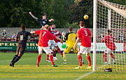 Dundee&rsquo;s Josh Meekings heads just wide of the target - Brechin City v Dundee pre-season friendly at Glebe Park, Brechin, <br /> <br /> <br />  - &copy; David Young - www.davidyoungphoto.co.uk - email: davidyoungphoto@gmail.com