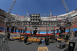 "November 26, 2011; Mexico City, Mexico; The ring being constructed for the Saul ""Canelo"" Alvarez and Kermit Cintron at the Plaza de Toros Bullring in Mexico City."