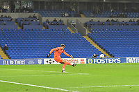 Football - 2019 / 2020 Emirates FA Cup - Fourth Round, Replay: Cardiff City vs. Reading<br /> <br /> Sam Walker of Reading takes a goal kick in front of an empty stand, at the Cardiff City Stadium.<br /> <br /> COLORSPORT/WINSTON BYNORTH