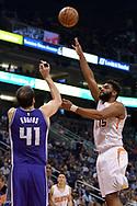 Mar 15, 2017; Phoenix, AZ, USA; Phoenix Suns forward Alan Williams (15) shoots the ball over Sacramento Kings center Kosta Koufos (41) in the first half at Talking Stick Resort Arena. Mandatory Credit: Jennifer Stewart-USA TODAY Sports