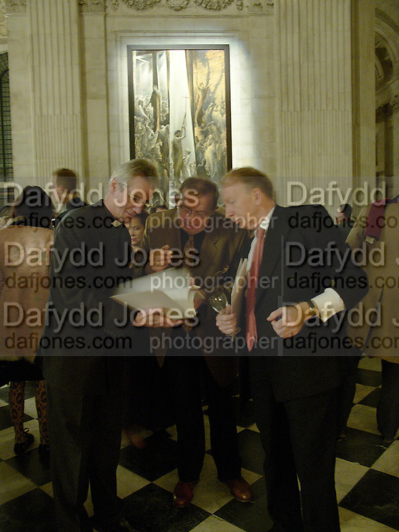 Canon Philip Buckler, Sergei Chepik and Godfrey Barker.  Sergei Chepik: St Paul's Cathedral - opening<br />St Paul's Cathedral, London, EC4, 6.30pmONE TIME USE ONLY - DO NOT ARCHIVE  &copy; Copyright Photograph by Dafydd Jones 66 Stockwell Park Rd. London SW9 0DA Tel 020 7733 0108 www.dafjones.com