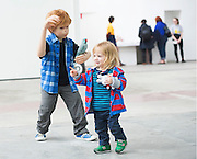 12/07/2015 repro free.  Jude McEllistrim (RHS) 20 months at The Galway International Arts Festival, Patricia Piccinini's   exhibition &quot;Relativity&quot; at the Prints works Galway. The exhibition will run at the gallery for the duration of the Galway International Arts Festival from July 13-26.  <br /> Photo:Andrew Downes:XPOSURE  <br /> Patricia is one of Australia's most acclaimed artists.