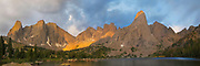 Sunrise overlooking Lonsome Lake and Pingora Peak (right of center) and the Cirque of the Towers, in the Wind River Range, Shoshone National Forest, Wyoming