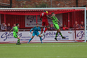 Forest Green Rovers goalkeeper Harry Pickering(24) makes a great save from worthings centre forward during the Pre-Season Friendly match between Worthing FC and Forest Green Rovers at Woodside Road, Worthing, Uni on 1 August 2017. Photo by Shane Healey.