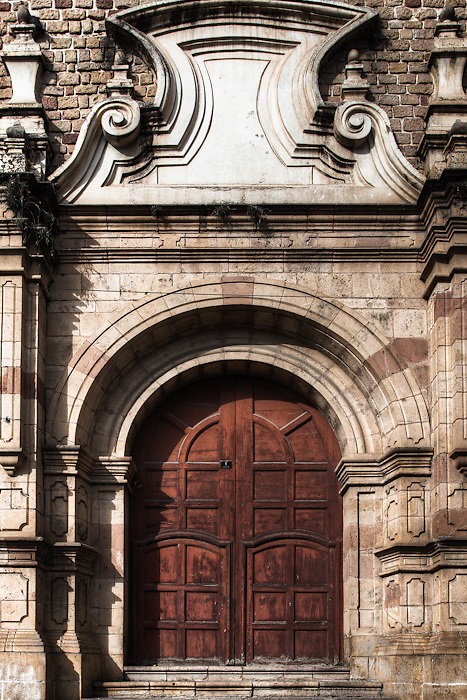 Spanish influensed Colonial Church and door in Sucre, Bolivia.