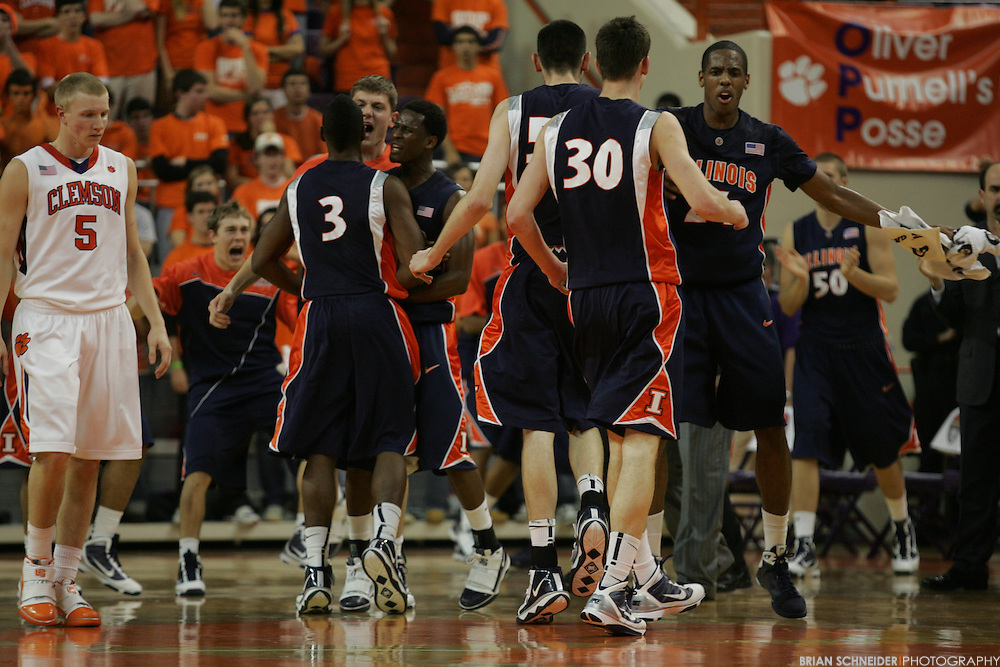 Dec 2, 2009; Clemson, SC, USA; Illinois Fighting Illini players react during a timeout against the Clemson Tigers in the second half during the ACC/Big Ten Challenge at Littlejohn Coliseum. Mandatory Credit: Brian Schneider-www.ebrianschneider.com
