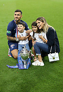 Leandro Paredes of PSG, his wife Camila Galante and their kids Victoria Paredes and Giovanni Paredes celebrate winning the French cup following the French Cup final football match between Paris Saint-Germain (PSG) and Saint-Etienne (ASSE) on Friday 24, 2020 at the Stade de France in Saint-Denis, near Paris, France - Photo Juan Soliz / ProSportsImages / DPPI