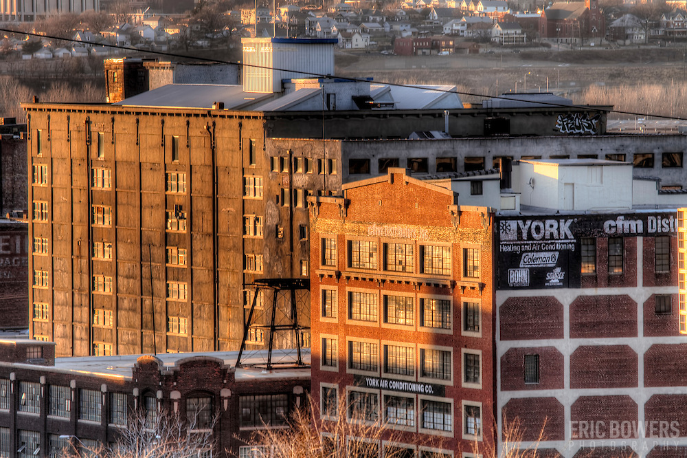 West Bottoms at sunset in Kansas City, Missouri.