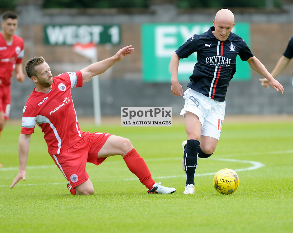 Bryan Hodge (Stirling Albion, red &amp; white) and Craig Sibbald (Falkirk, blue)<br /> <br /> Stirling Albion v Falkirk, Betfred Cup, Saturday 16th July 2016 <br /> <br /> (c) Alex Todd | SportPix.org.uk
