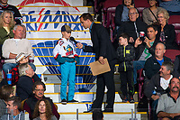 KELOWNA, CANADA - SEPTEMBER 22: Kelowna Rockets' game host, Ryan Watters, speaks to fans during time out against the Kamloops Blazers on September 22, 2017 at Prospera Place in Kelowna, British Columbia, Canada.  (Photo by Marissa Baecker/Shoot the Breeze)  *** Local Caption ***