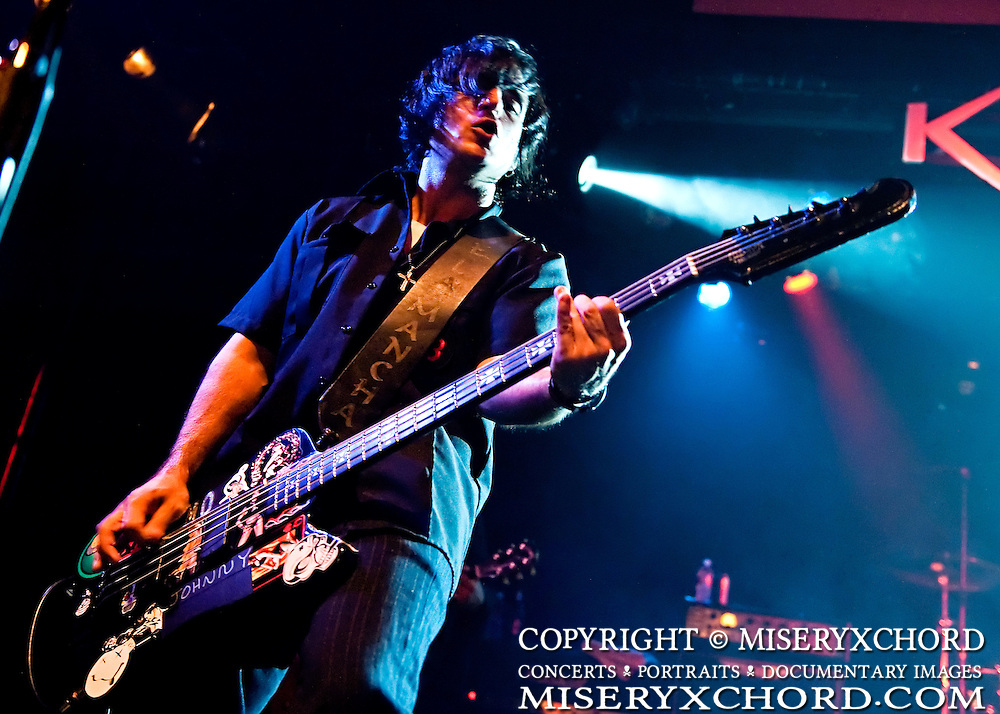 """Dino Kourelis of Lovehammers performs at the West Coast record release show for their 5th studio album, """"Heavy Crown"""", at Key Club in West Hollywood, California, USA on September 25, 2009."""