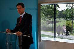 © Licensed to London News Pictures. 05/08/2014. LONDON, UK. Deputy Prime Minister Nick Clegg arriving the Redmond Community Centre to give a speech on immigration in north London on Tuesday, 05 August 2014. Photo credit : Tolga Akmen/LNP