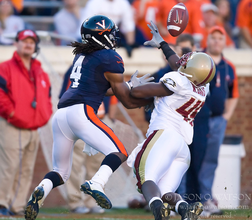 November 14, 2009; Charlottesville, VA, USA;  Boston College Eagles linebacker Alexander DiSanzo (44) breaks up a pass intended for Virginia Cavaliers wide receiver Vic Hall (4) during the first quarter at Scott Stadium.  Mandatory Credit: Jason O. Watson-US PRESSWIRE