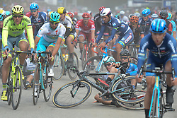 August 11, 2016 - Rognan, Norway - Riders crash just after crossing the finish line during the opening stage of the Arctic Race of Norway from Bodo to Rognan..On Thursday, 11 August 2016, in Rognan, Norway. (Credit Image: © Artur Widak/NurPhoto via ZUMA Press)