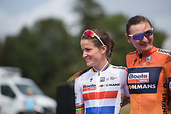 Lizzie Deignan on the sign in stage at Grand Prix de Plouay Lorient Agglomération a 121.5 km road race in Plouay, France on August 26, 2017. (Photo by Sean Robinson/Velofocus)