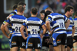 Guy Mercer of Bath Rugby speaks to his team-mates - Photo mandatory by-line: Patrick Khachfe/JMP - Mobile: 07966 386802 01/11/2014 - SPORT - RUGBY UNION - Bath - The Recreation Ground - Bath Rugby v London Welsh - LV= Cup