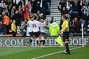 Derby County midfielder Bradley Johnson celebrates his goal during the Sky Bet Championship match between Derby County and Wolverhampton Wanderers at the iPro Stadium, Derby, England on 18 October 2015. Photo by Alan Franklin.