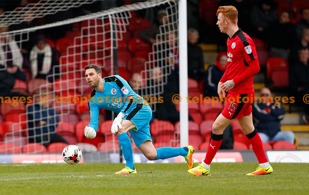 Crawley&rsquo;s Glenn Morris during the Sky Bet League 2 match between Grimsby Town and Crawley Town at Blundell Park in Cleethorpes. March 18, 2017.<br /> James Boardman / Telephoto Images<br /> +44 7967 642437