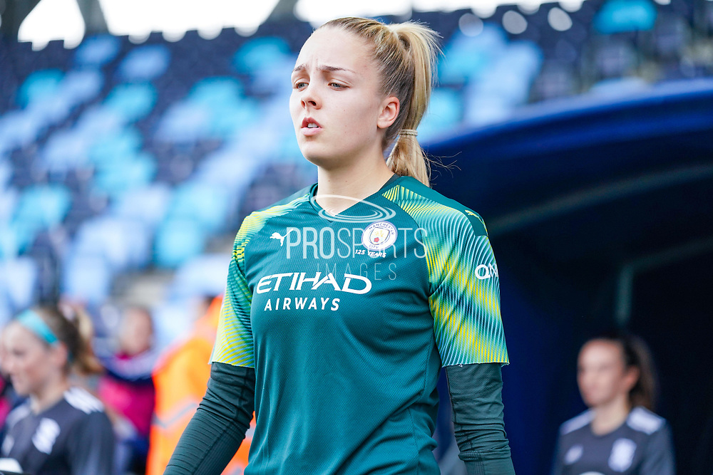 Manchester City Women goalkeeper Ellie Roebuck (26) during the FA Women's Super League match between Manchester City Women and BIrmingham City Women at the Sport City Academy Stadium, Manchester, United Kingdom on 12 October 2019.