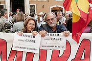 Roma, 23 Ottobre  2012.Manifestazione dei movimenti Abitare nella crisi.I movimenti di lotta Abitare nella crisi protestano a Piazza Montecitorio contro gli sfratti...