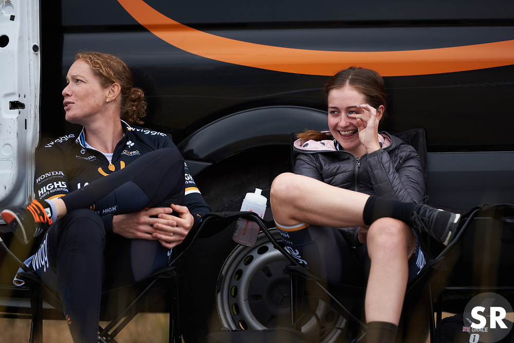 Grace Garner (GBR) in tears of laughter at Ladies Tour of Norway 2018 Team Time Trial, a 24 km team time trial from Aremark to Halden, Norway on August 16, 2018. Photo by Sean Robinson/velofocus.com