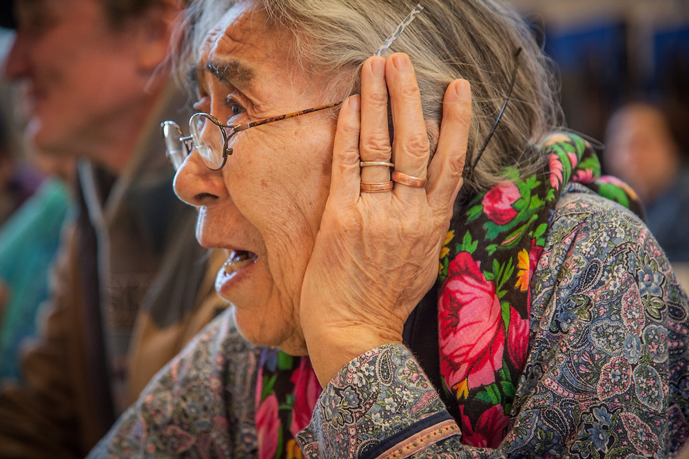 Writer, Nick Jans, with Minnie Gray of Ambler at the Elders Conference, Kotzebue, The Purchase Centennial Poject