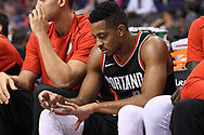 Oct 11, 2017; Phoenix, AZ, USA; Portland Trail Blazers guard Damian Lillard (0) clips his finger nails in the first half of the game against the Phoenix Suns at Talking Stick Resort Arena. Mandatory Credit: Jennifer Stewart-USA TODAY Sports