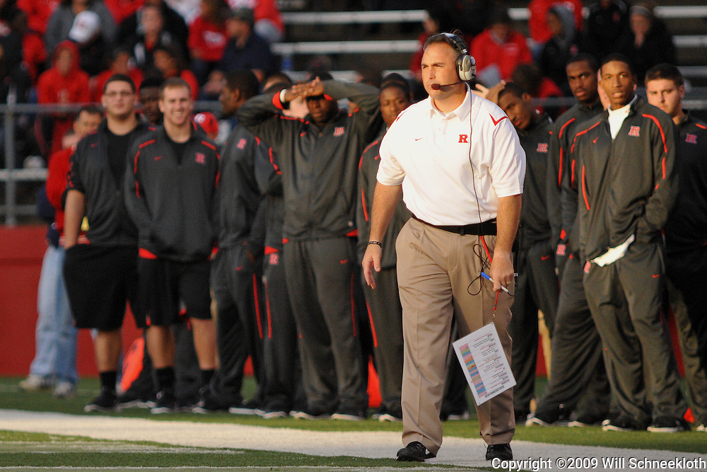 Oct 10, 2009; Piscataway, NJ, USA; Rutgers offensive line coach Kyle Flood looks on during second half NCAA college football action in Rutgers' 42-0 victory over Texas Southern at Rutgers Stadium.