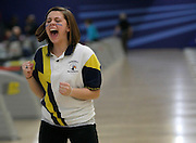 Katie Rose Noble of Cardinal McCarrick reacts to throwing a strike in the finals for the girls team title at the NJSIAA 2012 Bowling State Championships.
