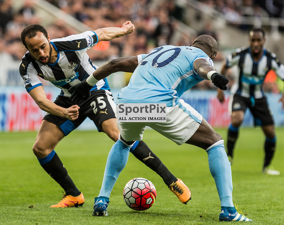 Newcastle United midfielder Andros Townsend (25) Manchester City defender Eliaquim Mangala (20)<br /> <br /> (c) John Baguley | SportPix.org.uk
