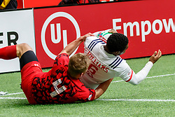 March 9, 2019 - Vancouver, BC, U.S. - VANCOUVER, BC - MARCH 10: Kevon Williams #6 of USA tackled by Ben Cambriani #4 of Wales and unable to score during Game #8- USA 7s vs Wales 7s in Pool A match-up at the Canada Sevens held March 9-10, 2019 at BC Place Stadium in Vancouver, BC, Canada.(Photo by Allan Hamilton/Icon Sportswire) (Credit Image: © Allan Hamilton/Icon SMI via ZUMA Press)