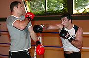 21.08.2003 Stuttgart, The Klitschko brothers spar together.