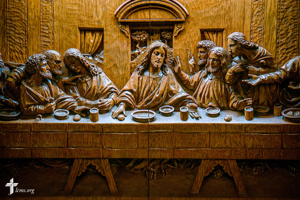 A wood carving depicting the Last Supper on the altar,  Saturday, Oct. 1, 2016, at St. John's Lutheran Church in Beardstown, Ill. LCMS Communications/Erik M. Lunsford