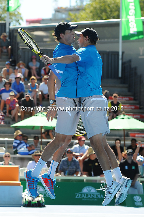 Mike Bryan (R) and Bob Bryan (L) of the USA celebrate what they thought was them winning of the match, but the point was overruled by the umpire during their doubles match at the Heineken Open. ASB Tennis Centre, Auckland, New Zealand. Tuesday 13 January 2015. Copyright photo: Chris Symes/www.photosport.co.nz