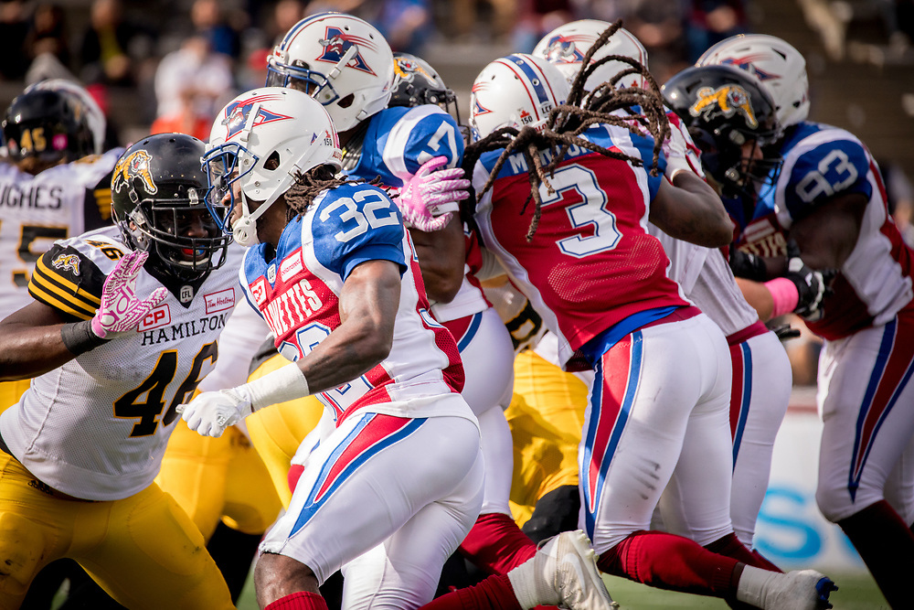 match des Alouettes contre les Tigers Cats d'hamilton &agrave; Montreal le 22 Octobre 2017<br /> <br /> photo: Dominick Gravel