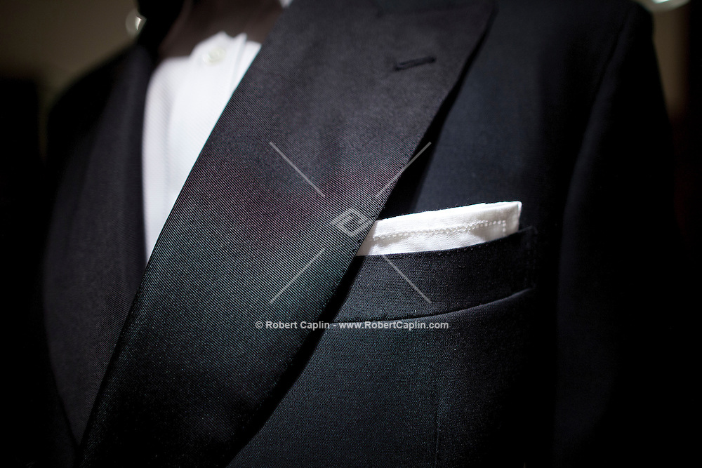 New York Times writer Guy Trebay works with Tom Kalenderian of Barneys New York to understand how to find the right tuxedo. ..Photo by Robert Caplin...