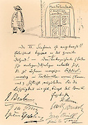 Invitation to a carnival at the Tonkunstlerverein, Vienna. Cartoon shows Anton Bruckner (1824-1896) leaving the office of Haslinger, Beethoven's publisher: 'The twelfth symphony has been worked off!! Relieved, he starts the second dozen'.   Signed by Johnnes Brahms, J.M. Grun, Julius Epstein, R. Lienau, Carl Goldmark, Brull, and Mr & Mrs Anton Door.