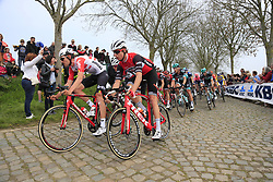 The peloton including Tiesj Benoot (BEL) Lotto-Soudal on the Padderstraat during the 2019 Ronde Van Vlaanderen 270km from Antwerp to Oudenaarde, Belgium. 7th April 2019.<br /> Picture: Eoin Clarke | Cyclefile<br /> <br /> All photos usage must carry mandatory copyright credit (© Cyclefile | Eoin Clarke)
