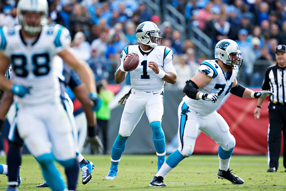 NASHVILLE, TN - NOVEMBER 15:  Cam Newton #1 of the Carolina Panthers looks downfield for a receiver during a game against the Tennessee Titans at Nissan Stadium on November 15, 2015 in Nashville, Tennessee.  (Photo by Wesley Hitt/Getty Images) *** Local Caption *** Cam Newton