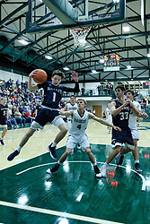29 December 2018: SSB32 Championship game between the Bloomington Central Catholic Saints and the Quincy Notre Dame Raiders at the State Farm Holiday Classic Coed Basketball Tournament at Shirk Center, Bloomington Illinois