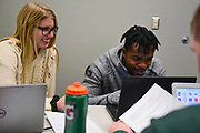 Student athletes make use of the new Sook Center space to study on Feb. 13, 2019. Photo by Hannah Ruhoff