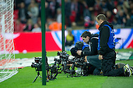 Photographers with remote cameras before the 2014 World Cup Qualifying Group H football match between England and Poland at Wembley Stadium in London on October 15, 2013.<br /> <br /> Great Britain, London, October 15, 2013<br /> <br /> Picture also available in RAW (NEF) or TIFF format on special request.<br /> <br /> For editorial use only. Any commercial or promotional use requires permission.<br /> <br /> Mandatory credit:<br /> Photo by © Adam Nurkiewicz / Mediasport