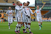 Derby County midfielder Tom Ince (10) scores a goal 0-1 and and celebrates during the EFL Sky Bet Championship match between Wolverhampton Wanderers and Derby County at Molineux, Wolverhampton, England on 5 November 2016. Photo by Alan Franklin.