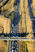 Nederland, Zuid-Holland, Reeuwijk, 18-02-2015. File op autosnelweg A12, ter hoogte van Reeuwijk.<br /> Traffic jam on the A12 motorway, near Reeuwijk.<br /> luchtfoto (toeslag op standard tarieven);<br /> aerial photo (additional fee required);<br /> copyright foto/photo Siebe Swart