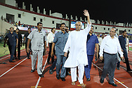 Naveen Patnaik Chief minister of Orissa during the final of the Hero Super Cup between East Bengal FC and Bengaluru FC held at the Kalinga Stadium, Bhubaneswar, India on the 20th April 2018<br /> <br /> Photo by: Arjun Singh / SPORTZPICS