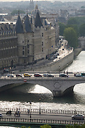 France. Paris. elevated view on Seine river, and  bridges. view  from The hotel de ville bell tower