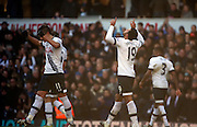Tottenham Hotspur midfielder Mousa Dembele celebrating scoring Tottenham Hotspur third goal during the Barclays Premier League match between Tottenham Hotspur and Sunderland at White Hart Lane, London, England on 16 January 2016. Photo by Matthew Redman.