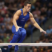 Jake Dalton, Norman, Oklahoma, in action on the Parallel bars during the Senior Men Competition at The 2013 P&G Gymnastics Championships, USA Gymnastics' National Championships at the XL, Centre, Hartford, Connecticut, USA. 16th August 2013. Photo Tim Clayton